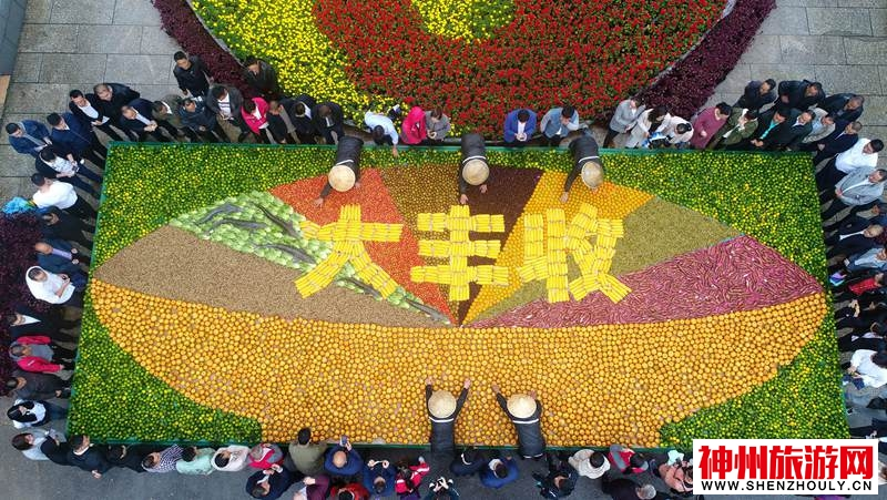 """河南老君山:6吨农作物打造巨碗""""大丰收""""农家菜  现场千人同吃一道菜"""