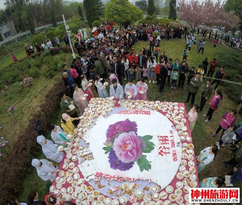 """河南鸡冠洞: 千人共享3米牡丹""""花王""""糕"""